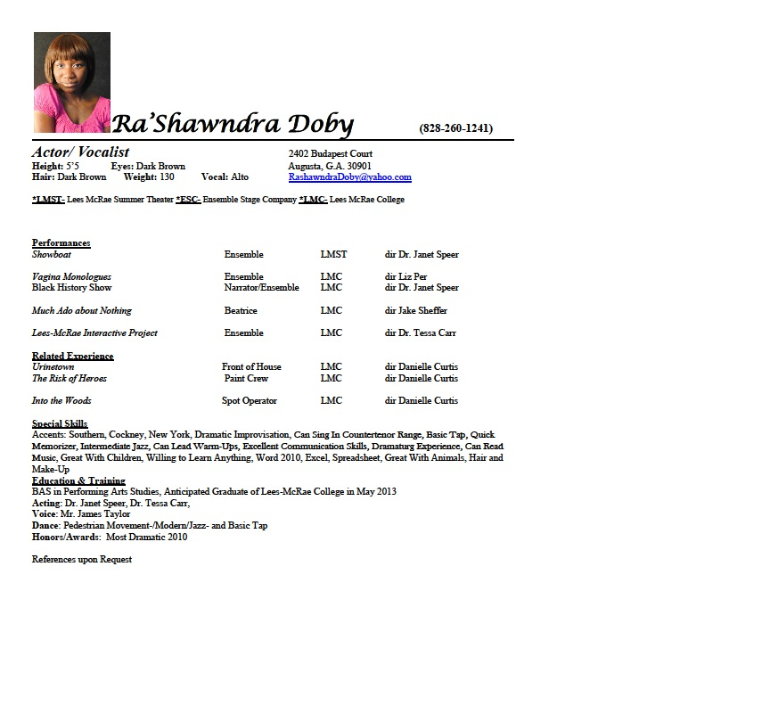 acting resume ra shawndra doby actress vocalist